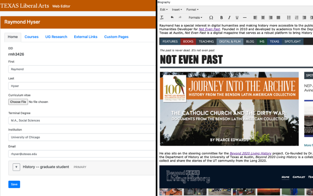 Screenshot of the University of Texas at Austin's web editor tool on the left and on the right is a close-up of the biography section of the web editor