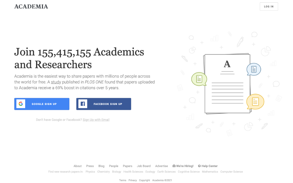 Screenshot of the sign-up page for Academia.edu