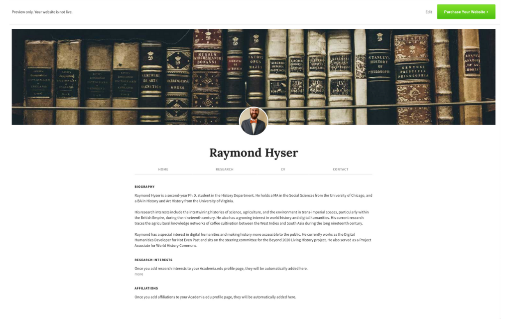 Screenshot of the preview of Raymond Hyser's personal website offered through Academia.edu