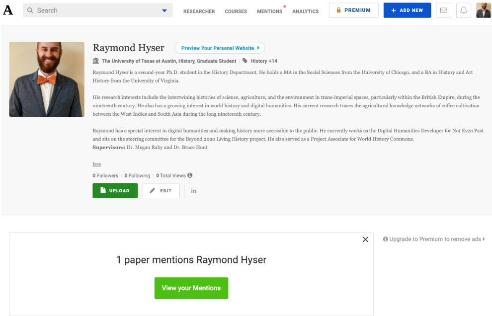 Screenshot of the Academia.edu profile page for Raymond Hyser with all the profile sections filled in