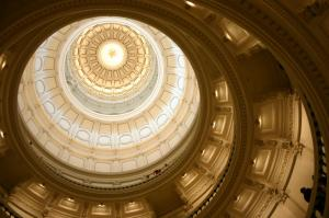 Interior view of the Texas State Capital Building looking up into the building's dome
