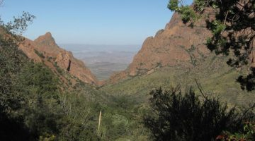 Image looking down a valley of green shrubbery between two red-brown mountains