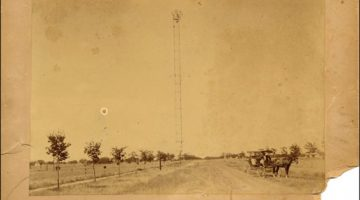 Image of the First Electric tower erected in Austin, 41st & Speedway, 1895