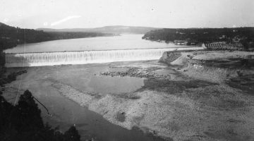Black and white image of the completed Austin dam from the 1890s