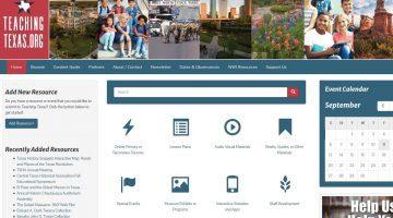 Screenshot of the TeachingTexas.org homepage