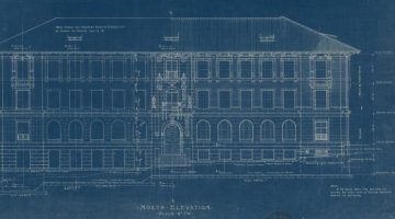 Blueprint of the architectural drawing of Garrison Hall at the University of Texas at Austin
