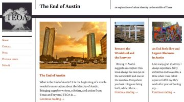 Screenshot of the homepage for The Death of Austin website