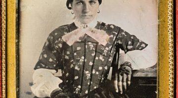 Daguerreotype of Marinda Atkins (1809-1878), wife of Sebron Sneed, ca. 1849-1850 in an ornate gold frame
