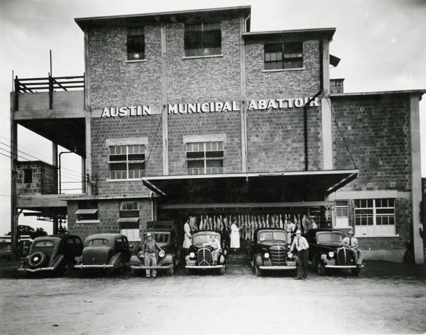 Black and white image of Austin's Municipal Abattoir as it appeared in 1939