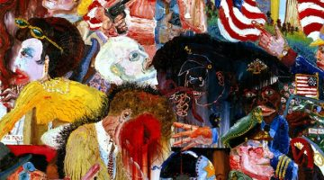 Peter Dean, Dallas Chaos, 1981, oil on canvas, 68 x 72 3/16 in., Blanton Museum of Art, Gift of Lorraine Dean and Gregory Dean, 1994