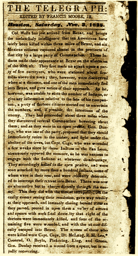 Page from the Telegraph and Texas Register newspaper from Nov. 3, 1828