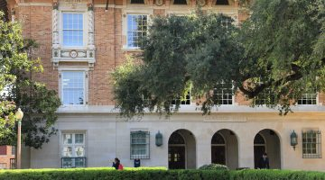 Photograph of the front facade of Garrison Hall on the campus of the University of Texas at Austin