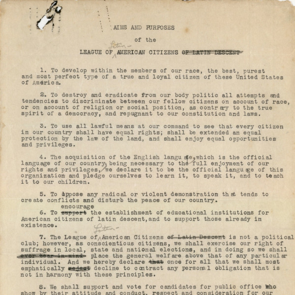 Image of the Aims and Purposed of the League of Latin American Citizens document from c. 1927
