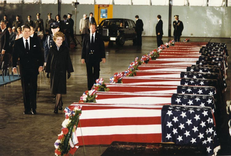 President Ronald Reagan and First Lady Nancy Reagan view the caskets of the 17 US victims of the 1983 attack against the US Embassy in Beirut (The Reagan Library)