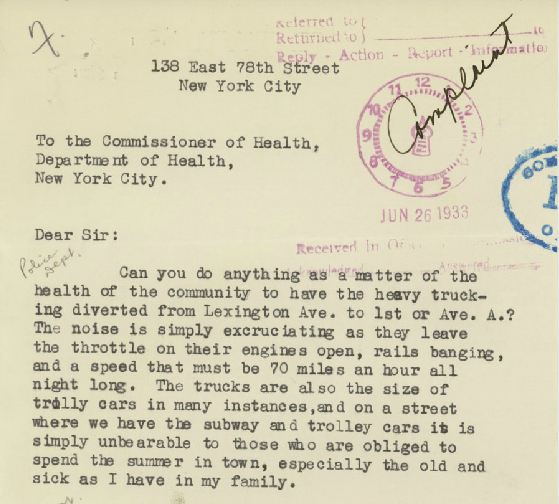 A formal complaint Louise P. Jenkins of Manhattan filed with the New York Commissioner of Health in 1933 regarding the sounds of fire engines (The Roaring Twenties/NYC Dept. of Records/Municipal Archives)