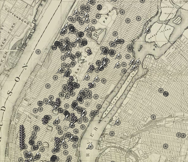 "Screenshot of the ""Space"" section, which arranges different sounds onto a map of New York City (The Roaring Twenties)"