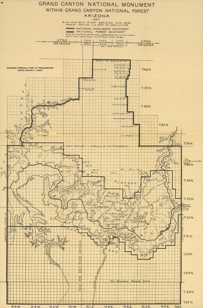 Map of Grand Canyon National Monument prepared by the National Forest Service, 1907 (Library of Congress)
