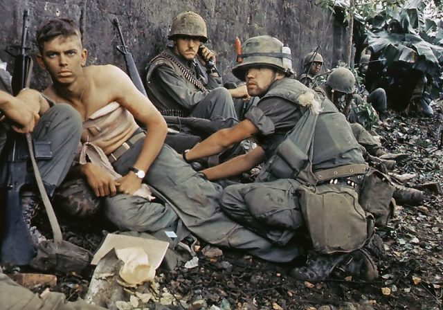 U.S. Marine receives treatment in Huế City, 1968 (National Archives and Records Administration)