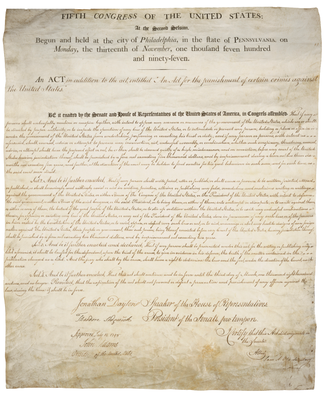 Original copy of the 1798 Sedition Act (United States Federal Government)
