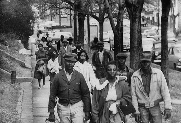 Commuters walking to work instead of riding the buses during the Montgomery bus boycott, 1956 (Don Cravens/Time Life/Getty Images)