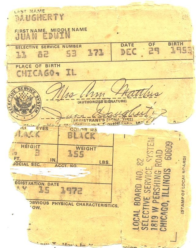 Vietnam era draft card (Wikipedia)