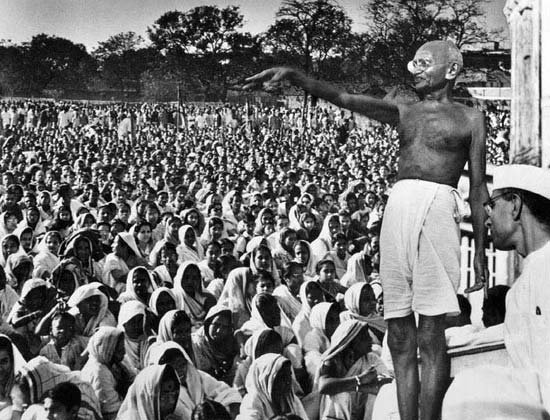 "Mahatma Gandhi speaking in India (""Satyagraha The Right to Protest: The Responsibility to Resist Violence"")"
