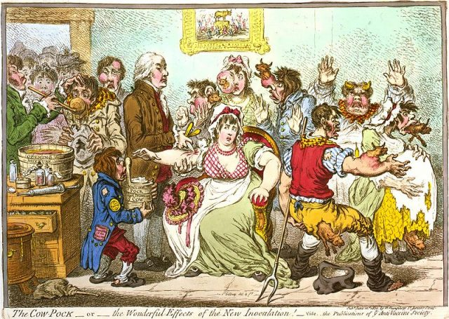 An 1802 cartoon of the early controversy surrounding Edward Jenner's vaccination theory, showing using his cowpox-derived smallpox vaccine causing cattle to emerge from patients (Library of Congress, Prints & Photographs Division, LC-USZC4-3147)