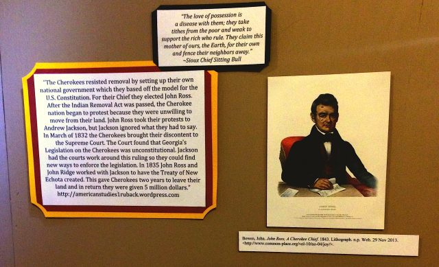 Selection from Kensey's exhibit describing the contributions of Cherokee Chief John Ross