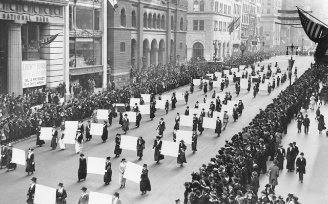 Suffragists Parade Down Fifth Avenue, 1917 (New York Times)