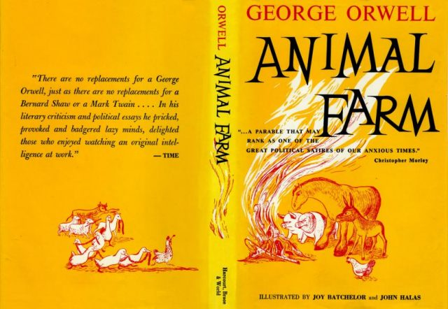 1950s dustcover for George Orwell's 1945 novel, Animal Farm (Image courtesy of Michael Sporn Animation)