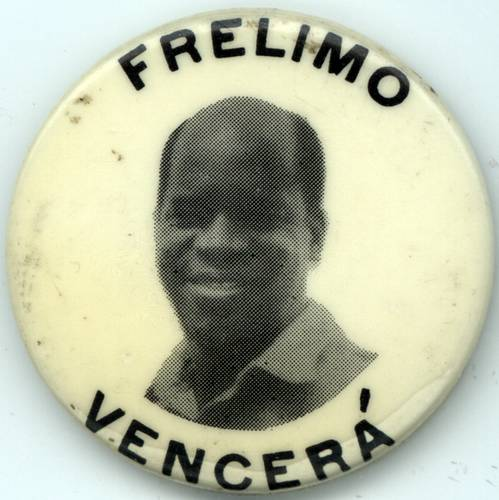 Frelimo button with the face of Eduardo Mondlane, the first president of the movement. Translation: 'Frelimo will win'. Image via African Activist Archive at MSU