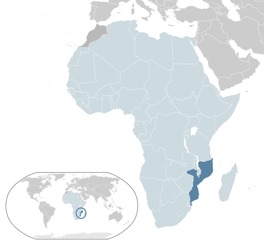 Map highlighting Mozambique. Image via Wikicommons.