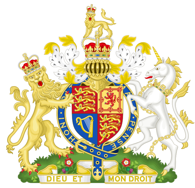Royal Coat of Arms of the United Kingdom. In Scotland, the Queen has a separate version of the Royal Arms - read about the differences here. (Wikicommons)