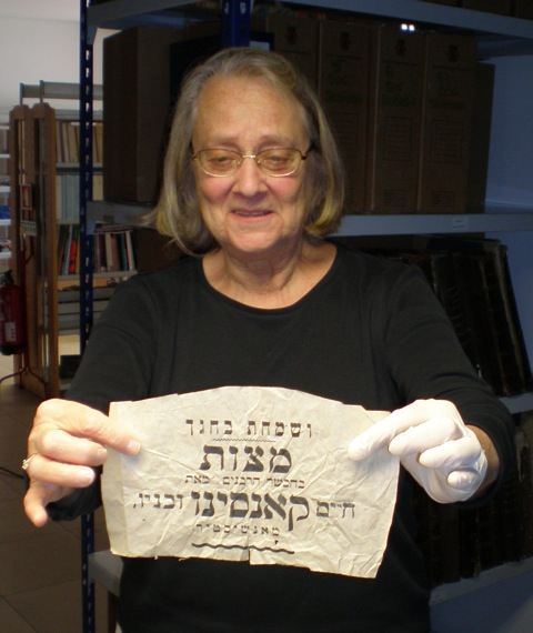 Professor Jane Gerber holding the matzah wrapper