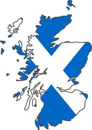 Scottish map and flag