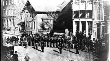 Black and white photograph of members of the 127th Ohio Volunteer Infantry, the first African American regiment recruited in Ohio during the Civil War