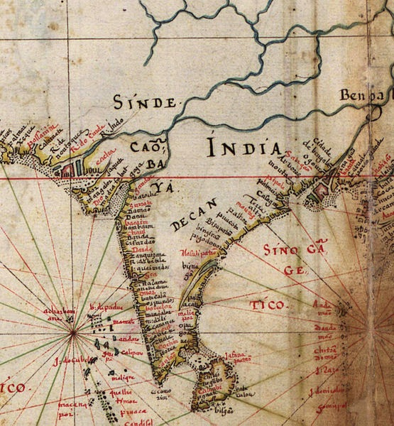 Detail of India, from a 1630 Portuguese map of Asia, entitled General tables of all the navigation, divided and corrected by D. Jeronimo de Ataide, with all the ports and conquests of Portugal delineated by Joao Teixeira, cosmographer of His Majesty, Year 1630 (Via Wikimedia Commons)