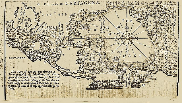 Map of Cartagena de Indias from Gentleman's Magazine, 1740. Via Wikimedia Commons.