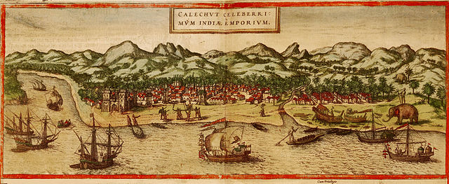 A panorama of Calicut, on the Malabar coast, Georg Braun and Franz Hogenbergs atlas Civitates orbis terrarum, 1572. (Via Wikimedia Commons)