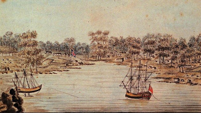 An oil painting of Aborigines watching Captain Phillip's First Fleet arriving in Sydney Cove. Courtesy of the Mitchell Library.
