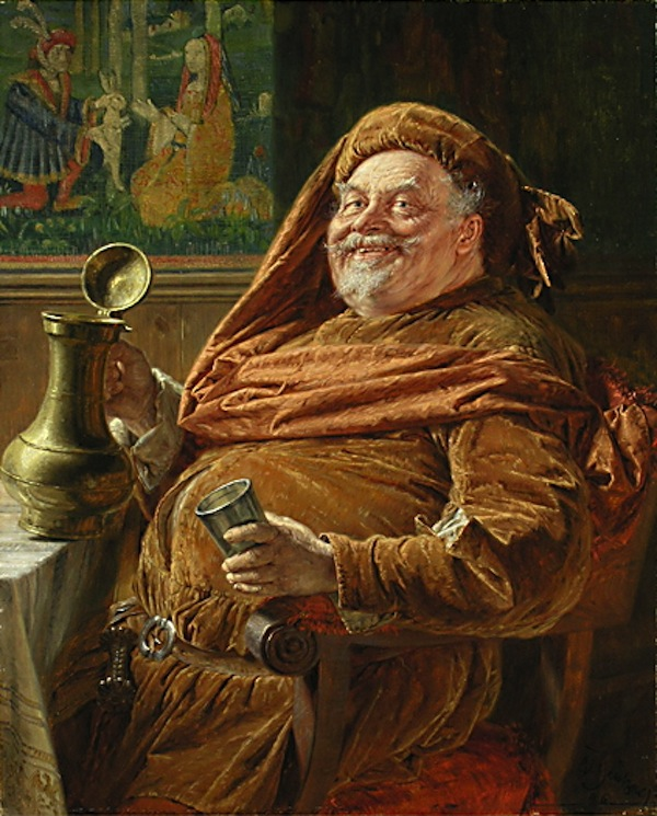 Eduard von Grützner: Falstaff mit großer Weinkanne und Becher {Falstaff with big wine jar and cup} (1896). Image via Wikimedia commons