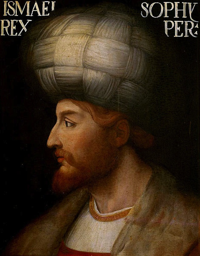 Portrait of Shah Ismail I of Persia (1487-1524) by an unknown Venetian artist. The original rendering is kept in the Uffizi Gallery museum in Florence, Italy. (Via Wikimedia Commons)