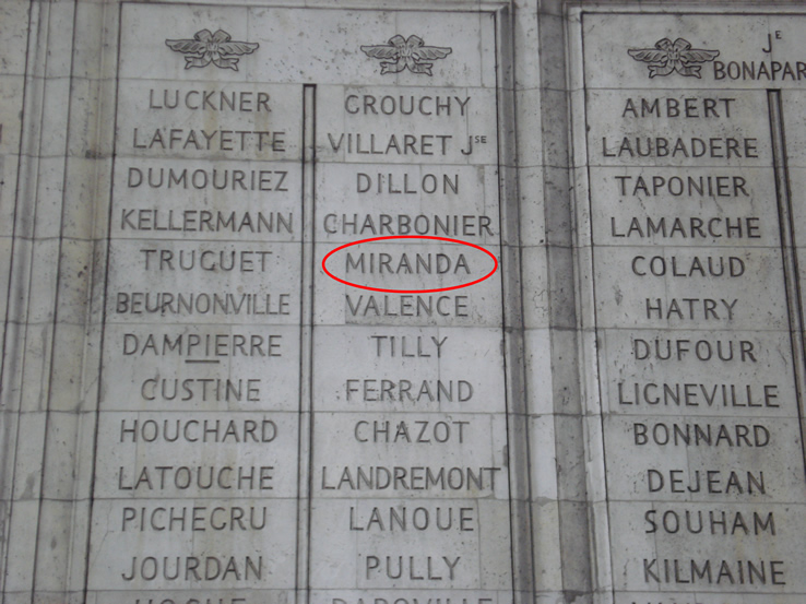 Miranda's name engraved on the Arc de Triomphe, Paris