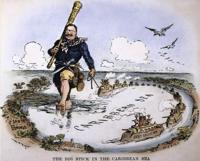 Theodore Roosevelt and his Big Stick in the Caribbean cartoon, 1904