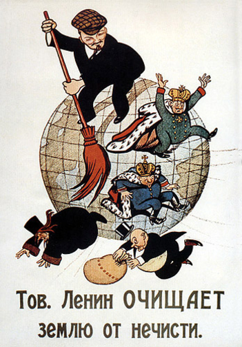 "Soviet poster ""Comrade Lenin cleans the Earth from scum"", November 1920"