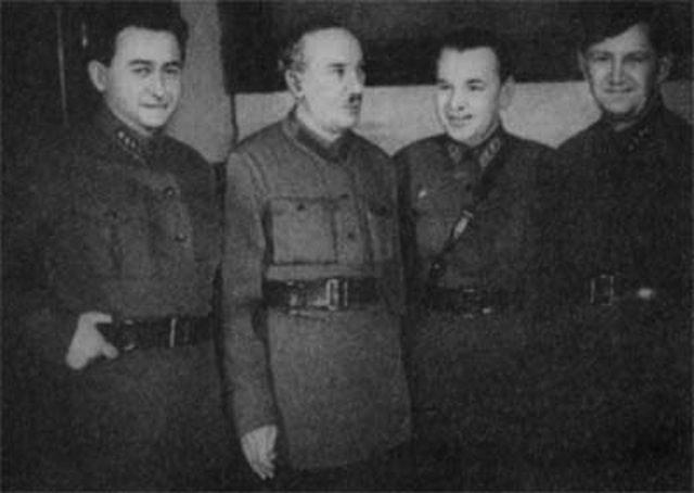 NKVD chiefs responsible for conducting mass repressions: Yakov Agranov, Genrikh Yagoda, Stanislav Redens. 1934.
