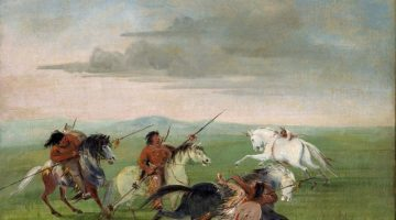 Comanche Feats of Horsemanship by George Catlin 1834. Via Wikimedia Commons.