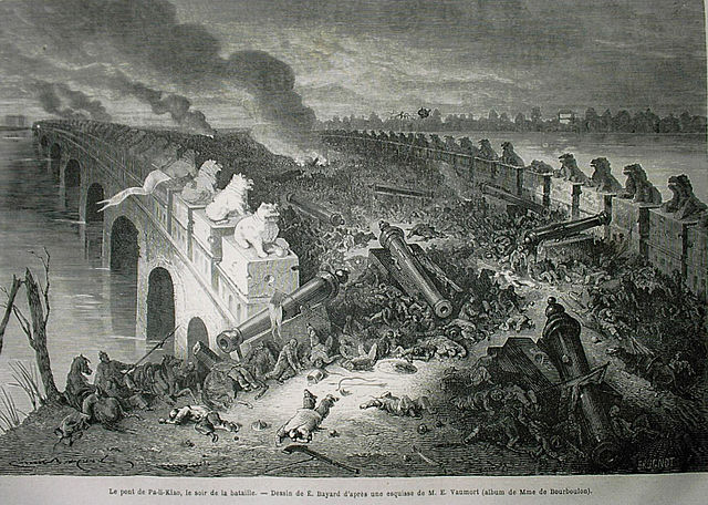 Pa-Li-Kiao's bridge, on the evening of the battle. The Battle of Palikiao (Baliqiao) took place on 21 December 1860 during the Second Opium War (1856-1860).
