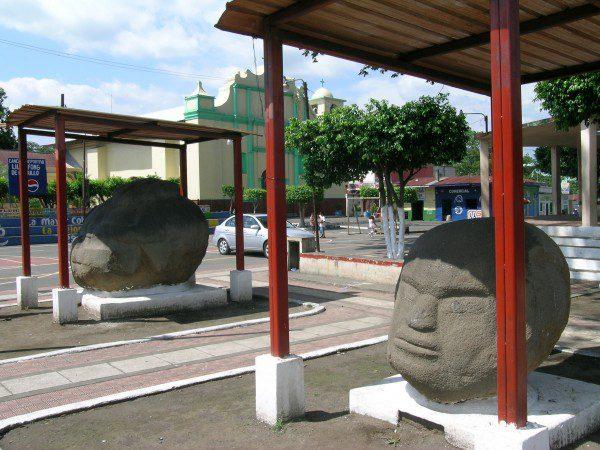 View of Monte Alto Monuments in the town square of La Democracia, Guatemala
