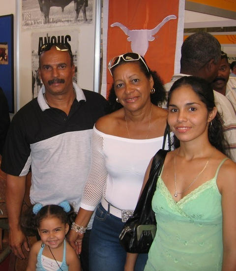 A family stops by a booth at the Havana trade fair in 2008.
